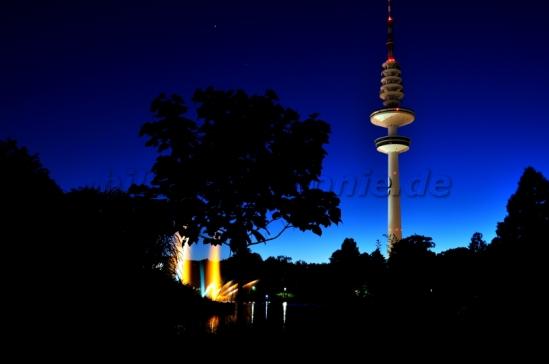 Freude 2 - Wasserlichtspiele in Planten un Blomen mit Fernsehturm im Hintergrund